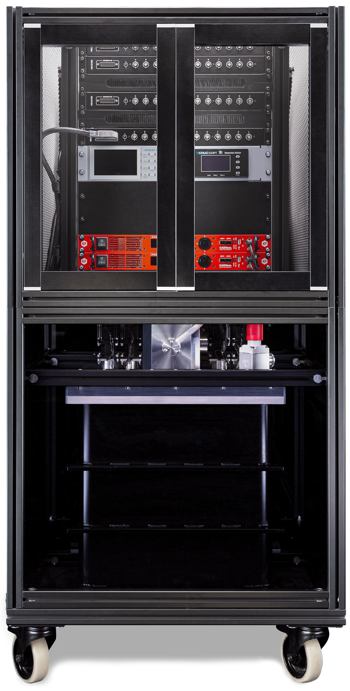 Picture of a S-Type Essential Cryostat mounted in a standard 19'' Electronics Rack