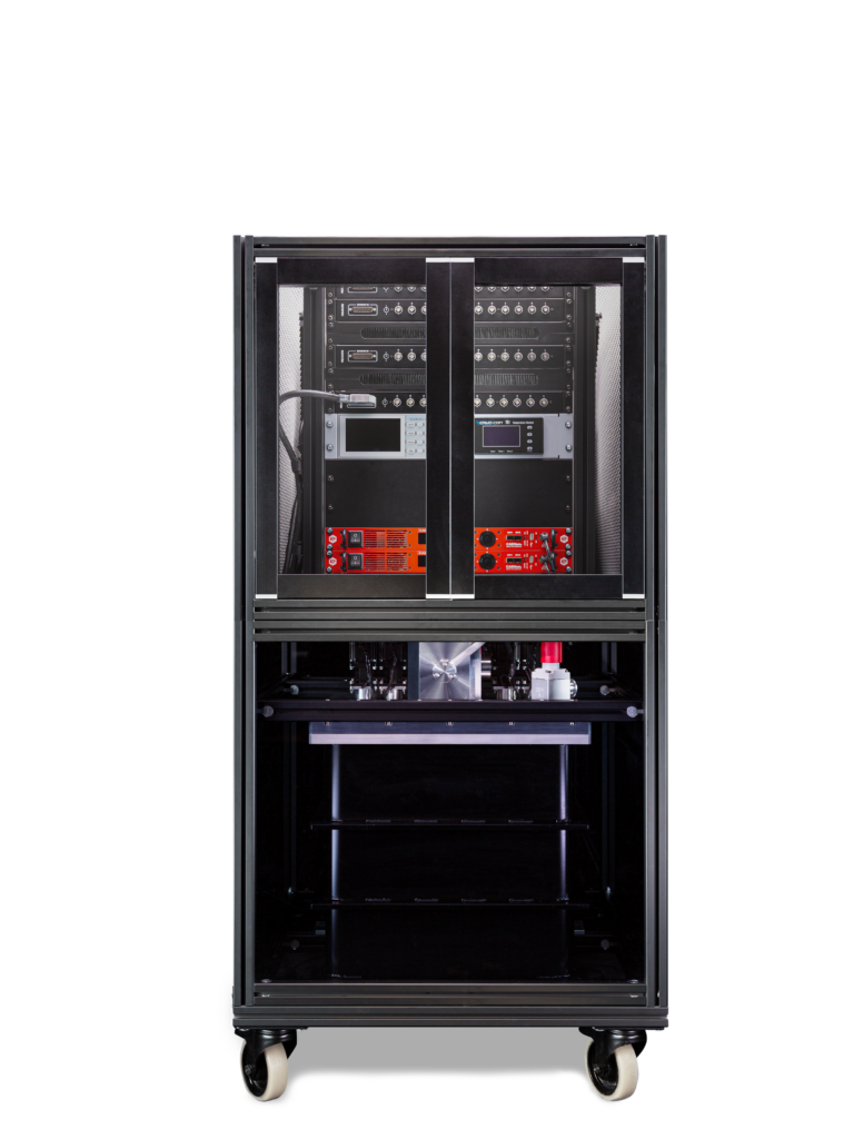 Photograph of the S-Type Essential Cryostat completely mounted in a custom 19'' rack