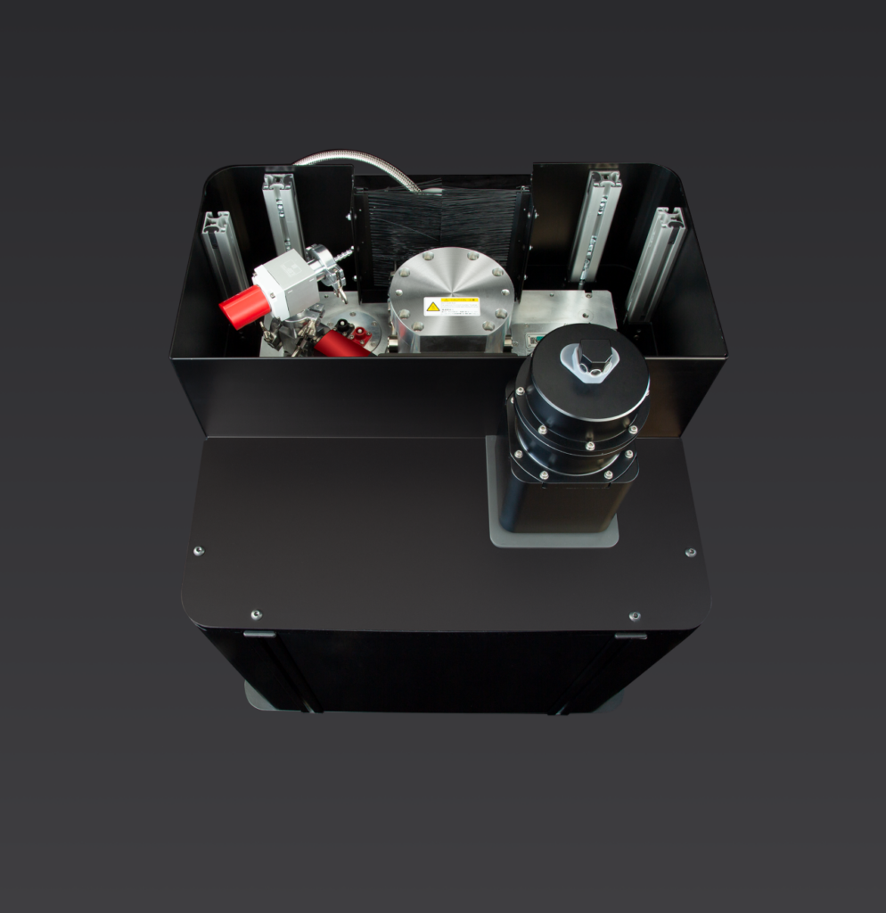 Top view of the S-Type Optical Cryostat. Cover opened to show internal structure.